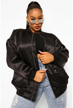 Black Plus Satin Longline Bomber Jacket