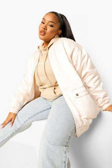 Light stone Plus Satin Longline Bomber Jacket