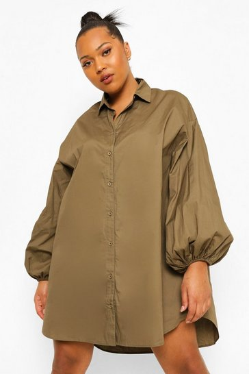 Khaki Plus Oversized Sleeve Shirt Dress