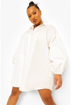 White Plus Oversized Sleeve Shirt Dress