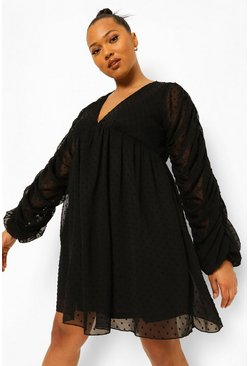 Black Plus Dobby Chiffon Ruched Smock Dress
