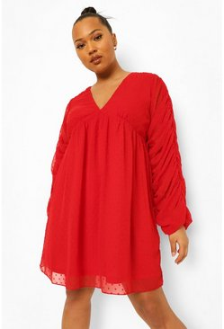 Red Plus Dobby Chiffon Ruched Smock Dress