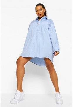 Blue Plus Oversized Woven Shirt Dress