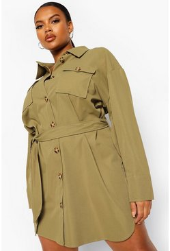Khaki Plus Oversized Utility Shirt Dress
