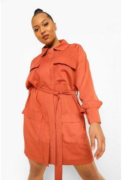 Rust orange Plus Pocket Utility Belted Shirt Dress