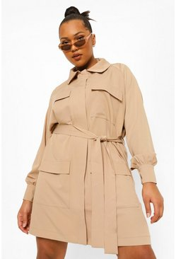 Stone beige Plus Pocket Utility Belted Shirt Dress