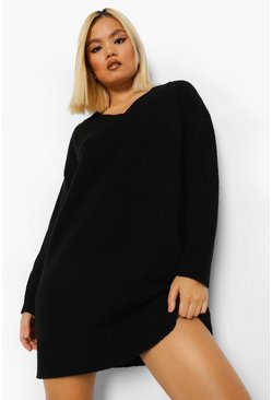 Black Petite V Neck Knitted Dress