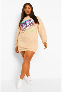 Stone beige Plus Woman Slogan Sweat Dress