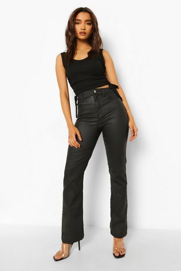Black Petite Coated High Waist Flared Jeans