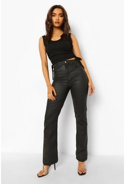 Black Petite Coated High Waist Flared Jean