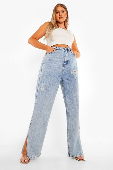 Plus Vintage Wash Distressed Split Hem Jean