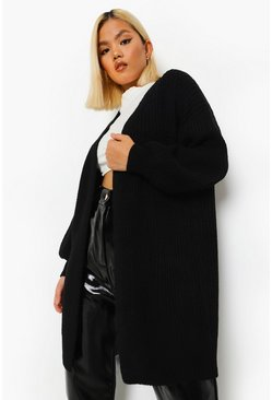Black Petite Balloon Sleeve Belted Cardigan