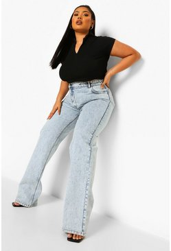 Ice blue  Plus Asymmetric Straight Leg Jean