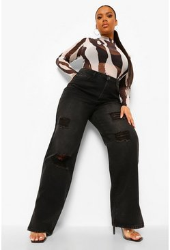 Black Plus High Waist Distressed Split Hem Jean