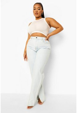 Ice blue Plus Seam Front Split Hem Relaxed Jean