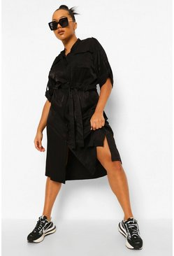 Black Plus Utility Belted Midi Dress