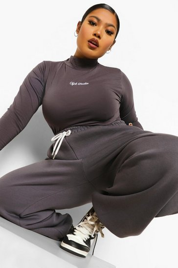 Charcoal grey Plus Ofcl Embroidered Bodysuit & Jogger Set