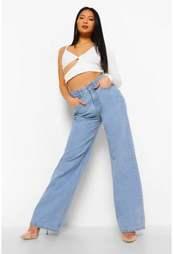Mid blue blue Petite High Rise Dad Jeans