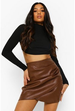 Chocolate brown Petite Ruched Detail Pu Mini Skirt