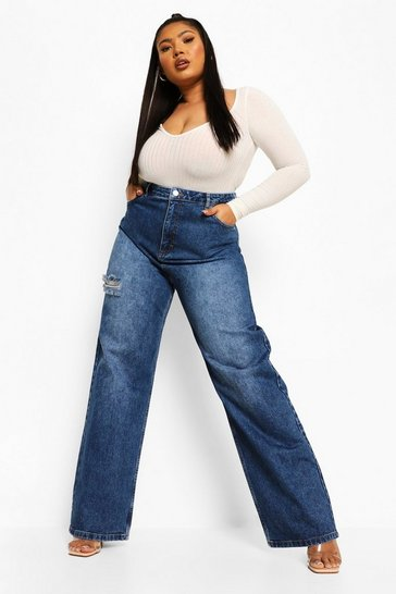 Mid blue blue Plus Thigh Rip Relaxed Fit Jean
