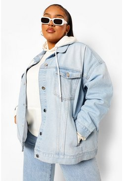 Ice blue Plus Extreme Oversized Denim Jacket