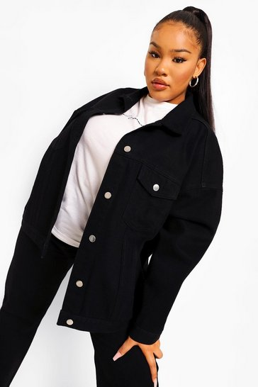 Black Plus Extreme Oversized Denim Jacket