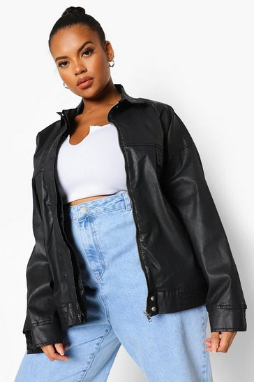 Black Plus Coated Denim Oversized Bomber Jacket