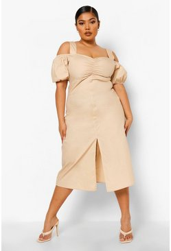 Stone beige Plus Open Shoulder Ruched Midi Dress