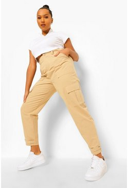 Stone beige Plus Cargo Pocket Tapered Twill Trousers