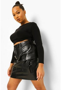 Black Plus Cargo Pocket Leather Look Mini Skirt