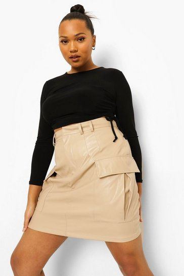 Stone beige Plus Cargo Pocket Leather Look Mini Skirt