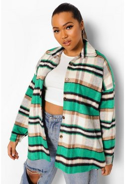 Green Plus Check Oversized Longline Shacket