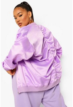 Lilac purple Plus Oversized Ruched Back Satin Bomber