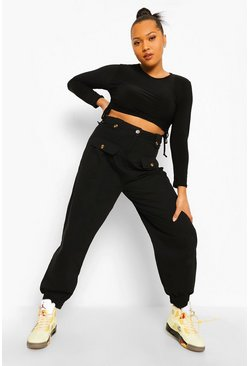 Black Plus Button Detail Cuffed Cargo Trouser
