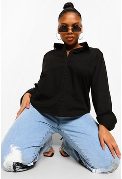 Black Plus Simple Pocket Front Shirt