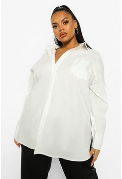 White Plus Extreme Oversized Split Back Shirt