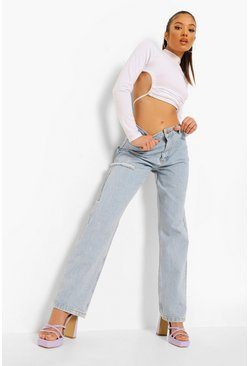 Bleach wash Petite Thigh Rip Relaxed Fit Jean