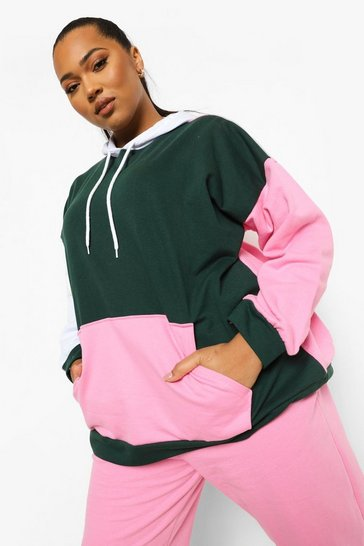 Bottle green green Green Plus Colour Block Oversized Hoodie