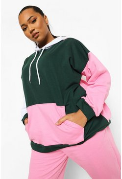 Bottle green green Plus Oversized Colour Block Hoodie