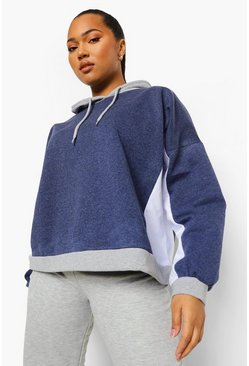 Navy Plus Oversized Colour Block Hoodie