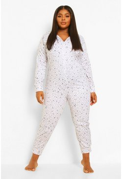 White Plus Fleece Leopard Onesie
