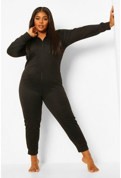 Black Plus Lounge Loopback Hooded Onesie