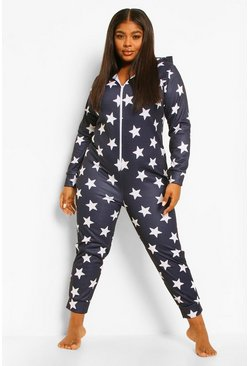 Navy Plus Fleece Star Onesie