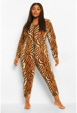 Brown Plus Tiger Fleece Onesie