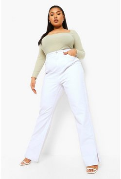 White Plus Split Hem Jean