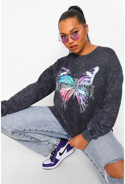 Charcoal grey Plus Oversized Acid Wash Gebleekte Sweater Met Vlinder