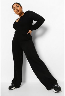 Black Plus Button Front Wide Leg Jumpsuit