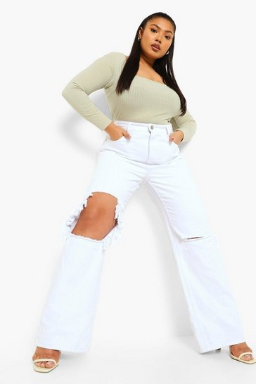White Plus Ripped Knee Boyfriend Jean