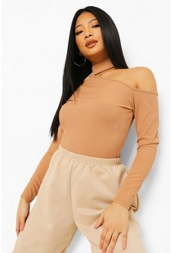 Toffee beige Petite High Neck One Shoulder Rib Top