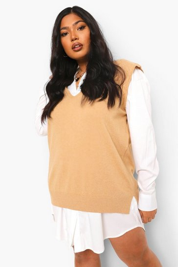 Camel beige Plus V Neck Knitted Tank Top